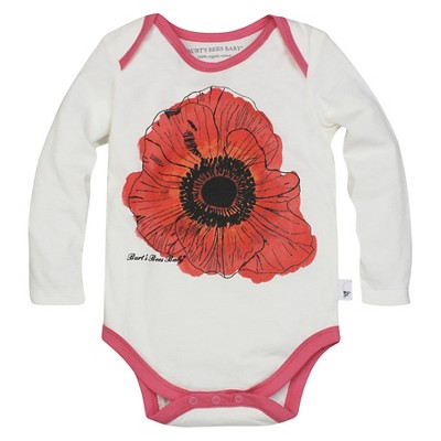 Burt's Bees Baby™ Girls' Poppy Bodysuit - Off White 0-3M