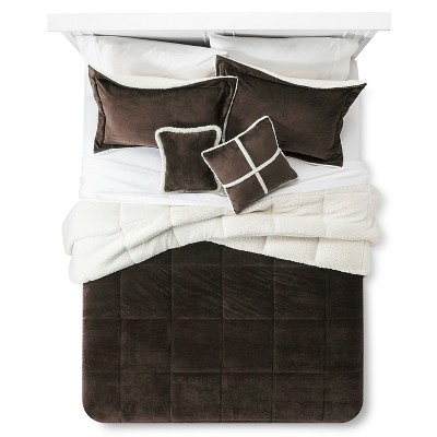 Solid Velvet with Sherpa Reverse Comforter Set (Queen) 5-Piece - Chocolate Brown