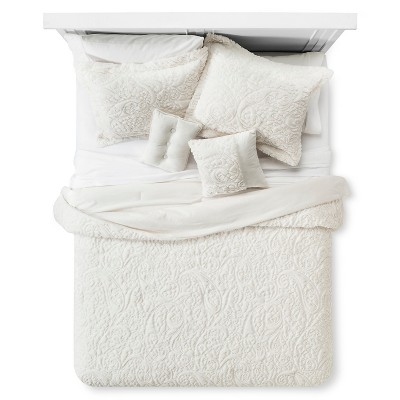 Embroidered Long Faux Fur Coverlet Set (Queen) 5-Piece - Ivory