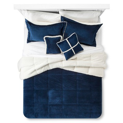 Solid Velvet with Sherpa Reverse Comforter Set (Queen) 5-Piece - Navy