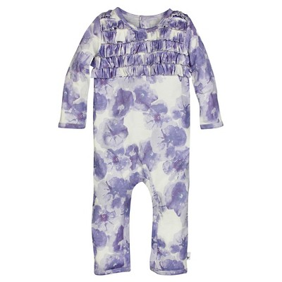 Burt's Bees Baby™ Girls' Petunia Ruffle Coverall - Lavender 3-6M