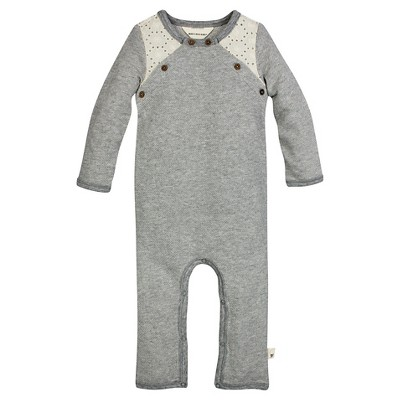 Burt's Bees Baby™ Girls' Crochet Coverall - Heather Grey 6-9M