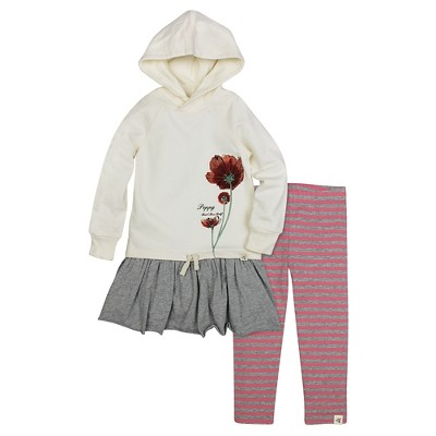 Burt's Bees Baby™ Girls' Hooded French Terry Dress & Legging - Off White 0-3M