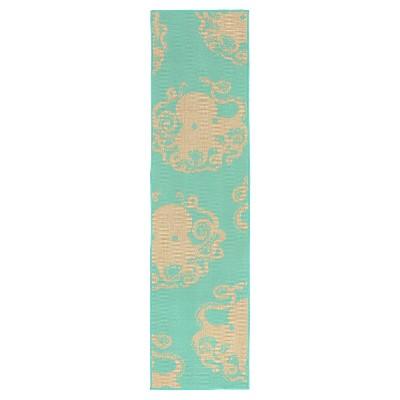 """Terrace Indoor/Outdoor Octopus Turquoise Rug 23""""X7'6"""" Blue - Liora Manne"""