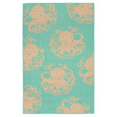 """Terrace Indoor/Outdoor Octopus Turquoise Rug 39""""X59"""" Blue - Liora Manne"""