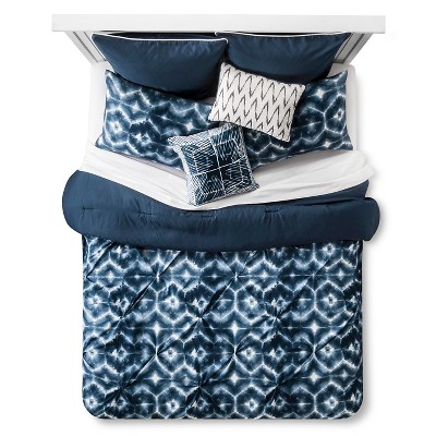 Cadem Ikat Comforter Set (Queen) 8-Piece - Blue& White