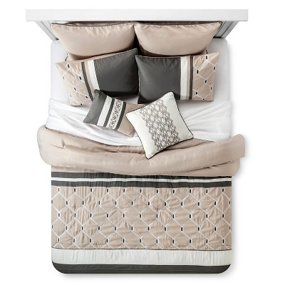 Weston Geometric Comforter Set (King) 8-Piece - Grey& Beige