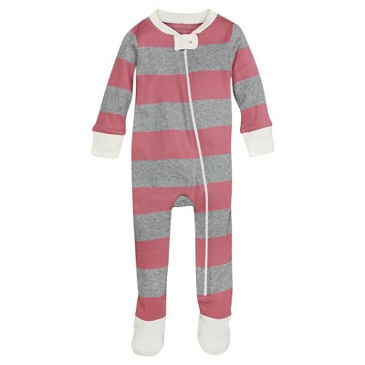 Burt's Bees Baby™ Girls' Rugby Stripe Sleeper - Coral 0-3M
