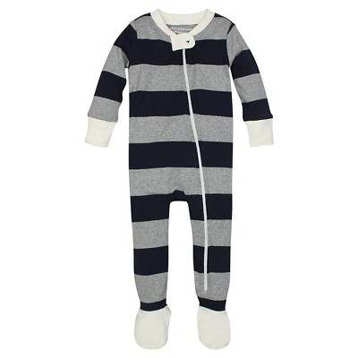 Burt's Bees Baby™ Boys' Rugby Stripe Sleeper - Dark Blue 3-6M