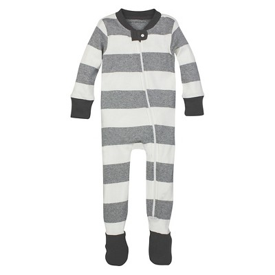 Burt's Bees Baby™ Boys' Rugby Stripe Sleeper - Heather Grey 12M