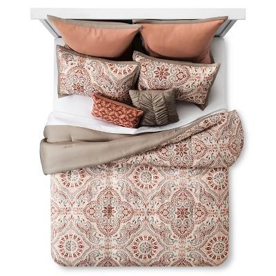 Tara Blush Tile Print Comforter Set (King) 8-Piece - Multicolored