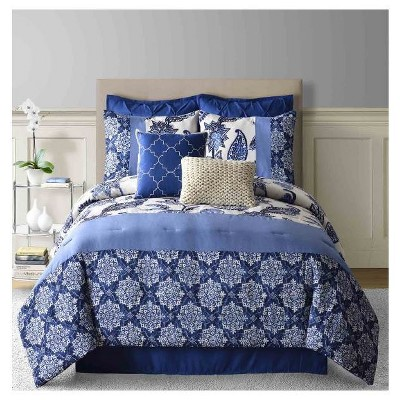 Paisley Faux Linen Comforter Set (Queen) 8-Piece - Navy