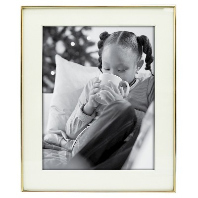 "Thin Profile 11""x14"" Matted for 8""x10"" Brass Frame - Threshold™"