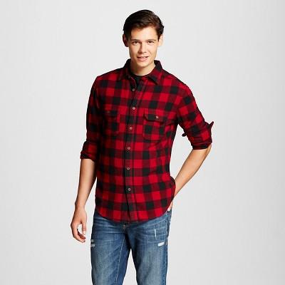 Men's Buffalo Check Flannel Button Down Dark Red L - Mossimo Supply Co. ™