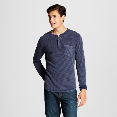 Men's Long Sleeve Washed Henley Navy L - Mossimo Supply Co.™