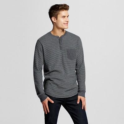 Men's Long Sleeve Washed Henley Black XL - Mossimo Supply Co.™