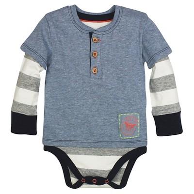 Burt's Bees Baby™ Boys' Henley Bodysuit - Blue 0-3M