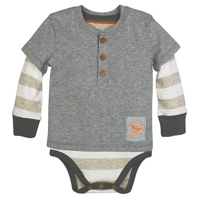 Burt's Bees Baby™ Boys' Henley Bodysuit - Heather Grey 0-3M