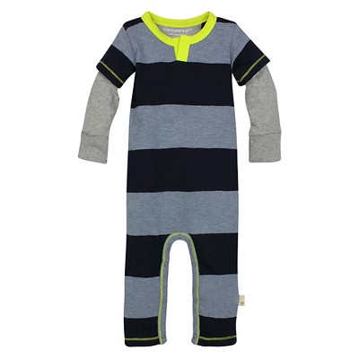 Burt's Bees Baby™ Boys' Rugby Stripe Coverall - Dark Blue 3-6M