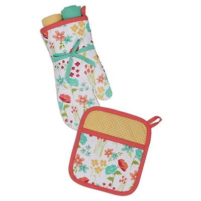 April Flowers Potholder and Oven Mitt Gift Set - Design Imports
