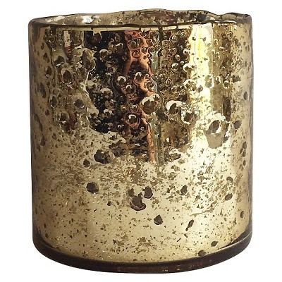 Hurricane Candle Holder Gold Mercury Glass - Threshold™