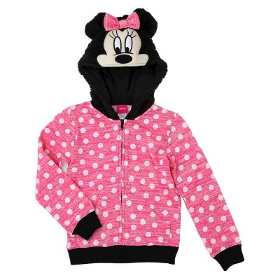 Girls' Minnie Mouse Costume Hoodie  - Pink XS