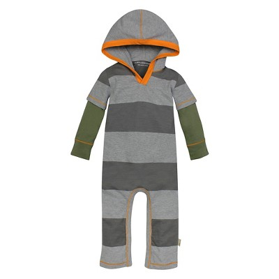 Burt's Bees Baby™ Boys' Hooded Rugby Stripe Coverall - Dark Grey 0-3M