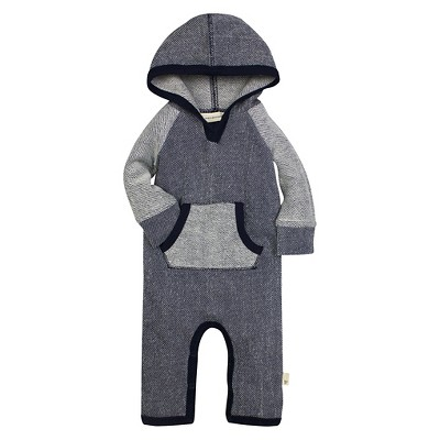 Burt's Bees Baby™ Boys' Hooded Coverall - Dark Blue 6-9M