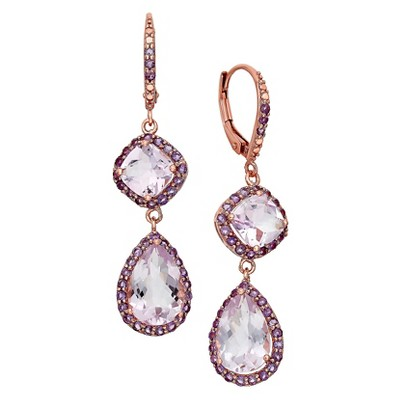 Multi Shape Amethyst Dangle Earrings in Rose Gold Over Silver