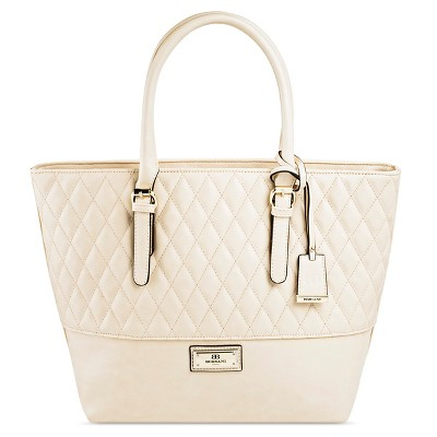 Borsani Women's Faux Leather Louisa Quilted Tote Handbag with Zip Closure - Beige