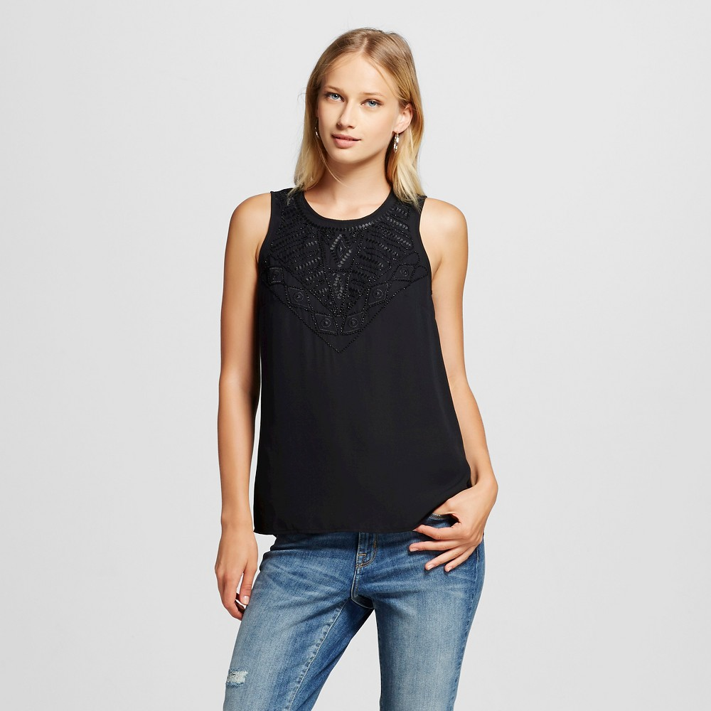 Women's Embellished Tank Top Black S - Mossimo, Size: Small