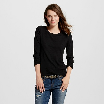 Women's Long Sleeve Crew T-Shirt Black Slub S - Mossimo Supply Co.™ (Juniors')