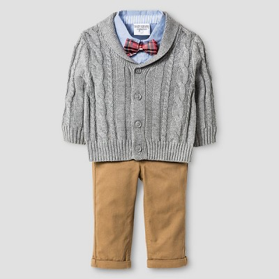 Baby Boyz™ Cable Knit Cardigan Set - Grey 0-3M