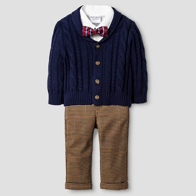Baby Boyz™ Cable Knit Cardigan Set - Navy 0-3M