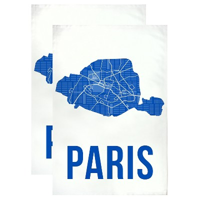 "Paris Designer Towel Set Blue (20""x30"") - MUkitchen"