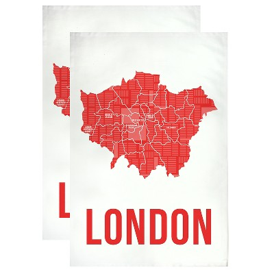 "London Designer Towel Red 20"" x 30""(Set of 2) - MUkitchen"