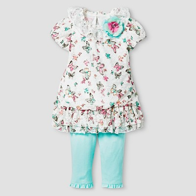 Baby Grand Signature™ Baby Girls' Floral Printed Chiffon Tunic & Legging Set - Off White 0-3M