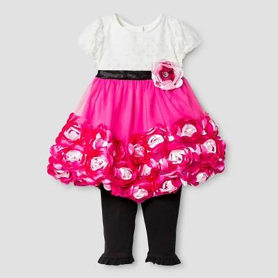 Baby Grand Signature™ Baby Girls' Rosette Dress & Legging Set - Pink/Black 0-3M