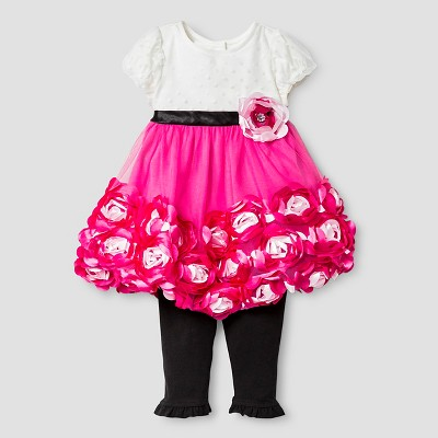 Baby Grand Signature™ Baby Girls' Rosette Dress & Legging Set - Pink/Black 3-6M
