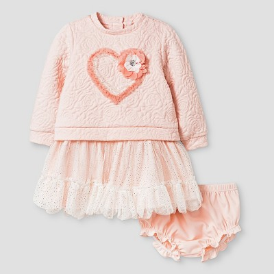 Baby Grand Signature™ Baby Girls' Lace Dress & Bloomer Set - Coral 0-3M