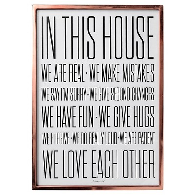 In this House Copper Framed Wall Art - 3R Studios