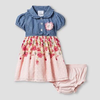 Baby Grand Signature™ Baby Girls' Chambray Top, Printed Skirt Dress & Bloomer Set - Blue 6-9M