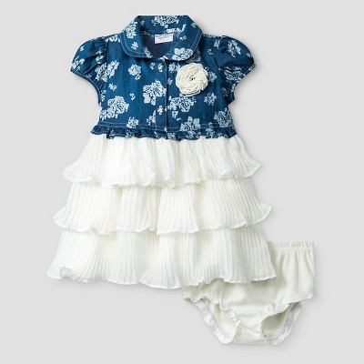 Baby Grand Signature™ Baby Girls' Chambray Top, Lace Skirt Dress & Bloomer Set - Blue 3-6M