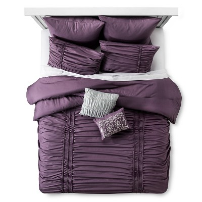 Maricopa Ruched Comforter Set (King) 8-Piece - Purple