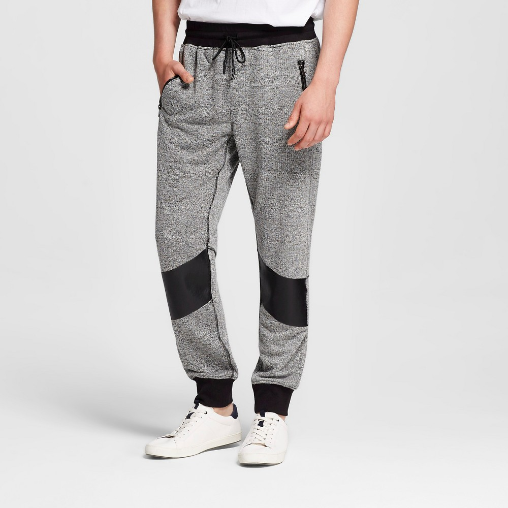 Men's Knit Moto Jogger Gray L - Mossimo Black, Size: Large, Heather Grey