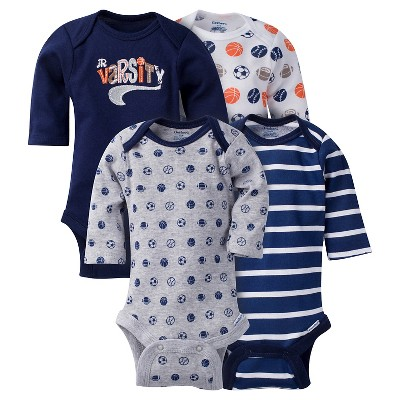 Baby Boys' 4 Pack Long Sleeve Sports Onesies Blue 3-6M - Gerber®