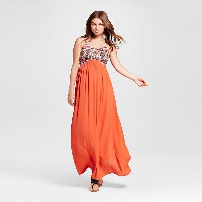 Women's Embroidered Maxi Dress Orange L - Xhilaration™ (Juniors')