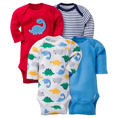 Baby Boys 4 Pack Long Sleeve Dinosaur Onesies Red 6-9M - Gerber®