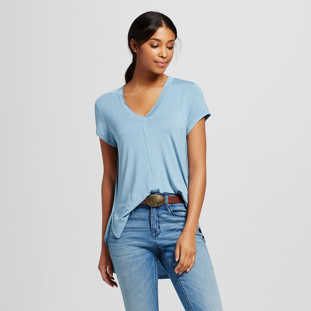 Women's Short Sleeve Side Split Tee Light Blue XS - Mossimo