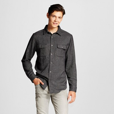 Men's Herringbone Flannel Shirt Gray XXL - Mossimo Supply Co. ™